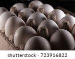 white eggs in carton box .... | Shutterstock . vector #723916822