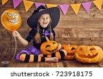 happy halloween  cute little... | Shutterstock . vector #723918175