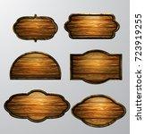 wooden signs  vector icon set | Shutterstock .eps vector #723919255