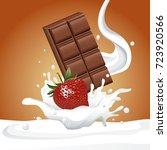 chocolate and berries flyer   Shutterstock .eps vector #723920566
