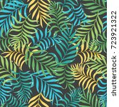 tropical background with palm... | Shutterstock .eps vector #723921322
