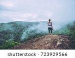 asian women travel relax in the ...   Shutterstock . vector #723929566