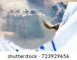jewish man in tallit blowing... | Shutterstock . vector #723929656