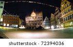 The town hall of university city Tuebingen at night - stock photo