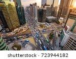 traffic speeds through an... | Shutterstock . vector #723944182