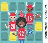 stadium crowd. interracial... | Shutterstock .eps vector #723951295