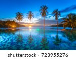 luxury resort with pool at... | Shutterstock . vector #723955276