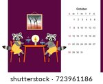 october. colorful monthly... | Shutterstock .eps vector #723961186