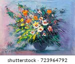 oil painting a bouquet of... | Shutterstock . vector #723964792