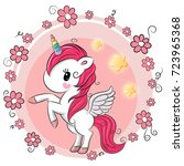 cute cartoon unicorn with... | Shutterstock .eps vector #723965368