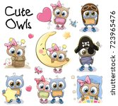 Set Of Cute Cartoon Owls On A...