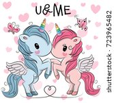 two cute unicorns on a hearts... | Shutterstock .eps vector #723965482