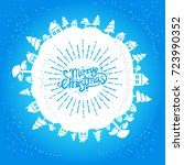 light blue christmas card with... | Shutterstock .eps vector #723990352
