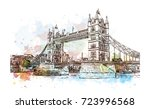 watercolor sketch of tower... | Shutterstock .eps vector #723996568