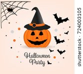 halloween pumpkin with a witch... | Shutterstock .eps vector #724003105