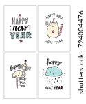 set of cute hand drawn merry... | Shutterstock .eps vector #724004476