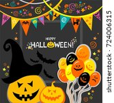 happy halloween. celebration... | Shutterstock .eps vector #724006315
