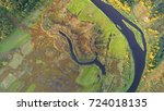 aerial wiev of natural river | Shutterstock . vector #724018135