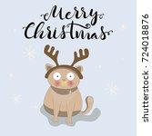 merry christmas unique hand... | Shutterstock .eps vector #724018876