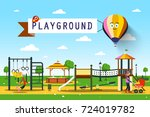 playground. vector park... | Shutterstock .eps vector #724019782