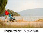 mother with child in stroller...   Shutterstock . vector #724020988