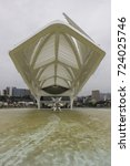 Small photo of Rio de Janeiro, Brazil, January 11, 2016: Lack of maintenance makes the water mirror around the Museum of Tomorrow get dirty with mud accumulated. Museum of Tomorrow is designed by Santiago Calatrava.