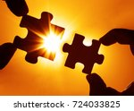 two hands trying to connect... | Shutterstock . vector #724033825