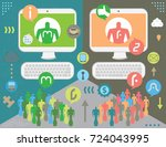 social media activism in... | Shutterstock .eps vector #724043995
