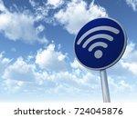 wifi symbol on roadsign   3d... | Shutterstock . vector #724045876