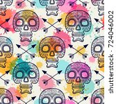 seamless vintage pattern with... | Shutterstock .eps vector #724046002