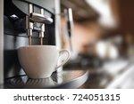 espresso machine making fresh... | Shutterstock . vector #724051315