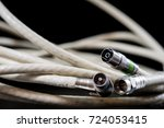 old entangled cables ... | Shutterstock . vector #724053415