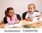 cute little girls are writing... | Shutterstock . vector #724054702