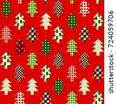 seamless christmas background... | Shutterstock .eps vector #724059706