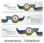 azerbaijan flag ribbon banner... | Shutterstock .eps vector #724060915