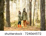 children walking in the forest...   Shutterstock . vector #724064572