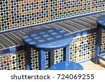 typical mosaic pattern and blue ... | Shutterstock . vector #724069255