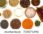 different  bowls with spices ... | Shutterstock . vector #724071496