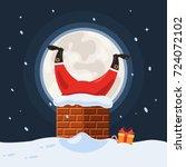 santa claus stuck in the... | Shutterstock .eps vector #724072102