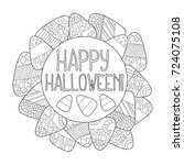 candy corn vector coloring page.... | Shutterstock .eps vector #724075108