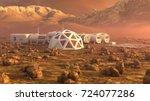 mars planet satellite station... | Shutterstock . vector #724077286
