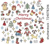 set of christmas elements for...   Shutterstock .eps vector #724078246