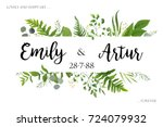 Wedding invite invitation card vector floral greenery design: Forest fern frond, Eucalyptus branch green leaves foliage herb greenery, berry frame, border. Poster, greeting Watercolor art illustration | Shutterstock vector #724079932