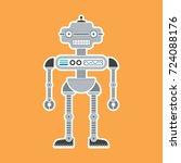 a cute cartoon robot... | Shutterstock .eps vector #724088176
