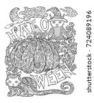 halloween coloring page with... | Shutterstock .eps vector #724089196