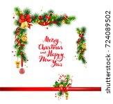 christmas festive poinsettia... | Shutterstock .eps vector #724089502