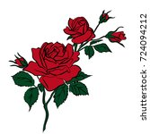 silhouettes of rose isolated on ... | Shutterstock .eps vector #724094212