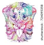 the head of a dog. labrador... | Shutterstock .eps vector #724095358