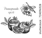 hand drawn pomegranate | Shutterstock .eps vector #724096528
