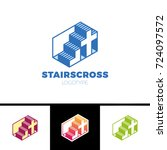 christian logo with stairs and... | Shutterstock .eps vector #724097572